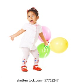 Pretty expressive little girl with colorful balloons on white