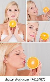 Pretty female with citrus orange fruit and pure skin collage