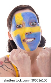 pretty female fan from sweden is cheerfully, isolated on white