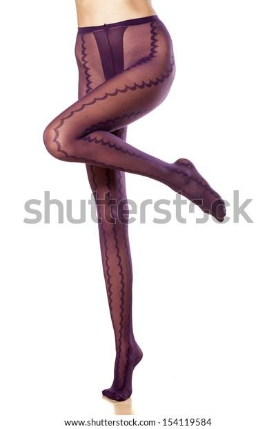 pretty female legs with nylon tights