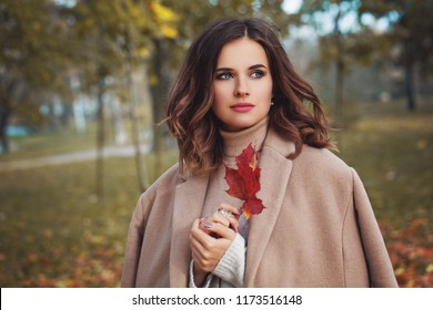 Pretty female model woman with healthy brown hairstyle, makeup and fall leaves in hand walking in autumn park