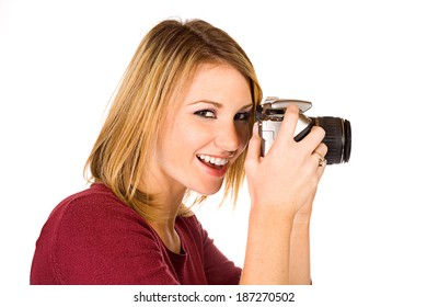 Pretty Female Photographer With Digital Camera
