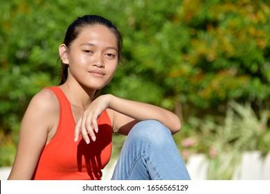 A Pretty Filipina Female Relaxing