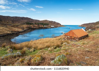 The pretty fishing hamlet of Ardheslaig in the Scottish Highlands
