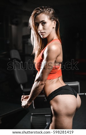 Pretty Fitness Sexy Model Luxury Ass Caucasian Female On Diet With Perfect Body In Gym