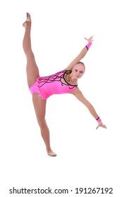 Pretty flexible girl dancer gymnast over white background
