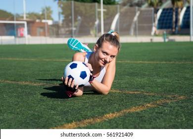 Pretty football woman player