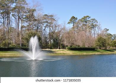 Pretty fountain on a pond.