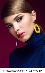 Pretty fresh girl, fashionable image of modern Twiggy with unusual eyelashes and bright accessories.