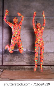 pretty funny zentai girls playing