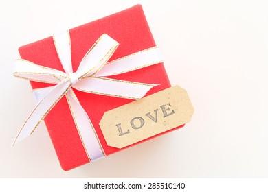 pretty gift box with love alphabet