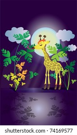 Pretty Giraffe In The Night Eats Green Leaves