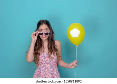 pretty girl with balloon