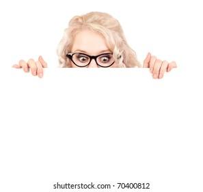 Pretty girl with a blank presentation board