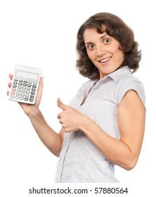 Pretty girl with calculator