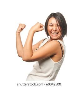 Pretty girl celebrates victory