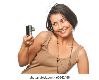 Pretty girl with compact photo camera