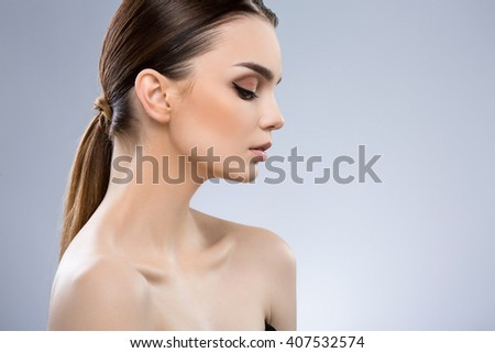 ae1e11b55aa7c Pretty Girl Dark Brown Hair Fixed Stock Photo (Edit Now) 407532574 ...
