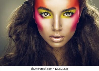 pretty girl with eye shadows on face