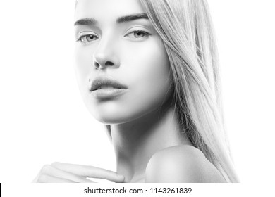 Pretty girl face, beauty model headshot isolated on white background. Hair style, clean fresh perfect skin. Black and white
