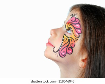 Pretty girl with face painting isolated on white background