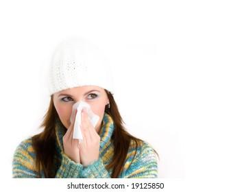 pretty girl with flu