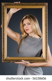 pretty girl with golden frame
