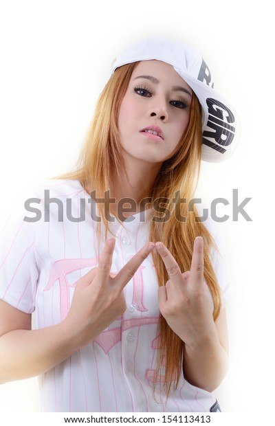 Pretty girl in hip hop style action.