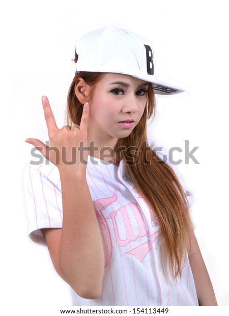 Pretty girl in hip hop style fashion.