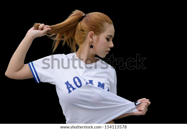 Pretty girl in hip hop style dancing.