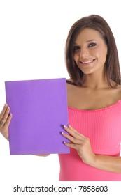 pretty girl holding a blank folder