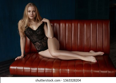 Pretty girl in lingerie at interior designing fashion