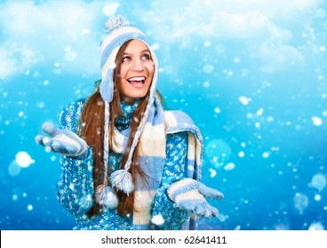 pretty girl with lots of snowflakes