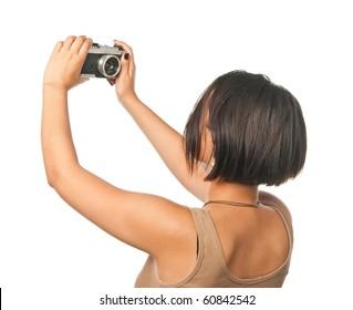 Pretty girl making a self portrait