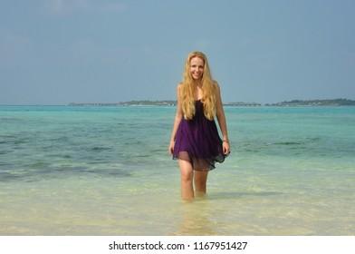 Pretty girl in Maldives