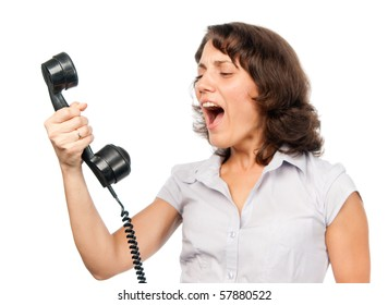 Pretty girl with old-style telephone