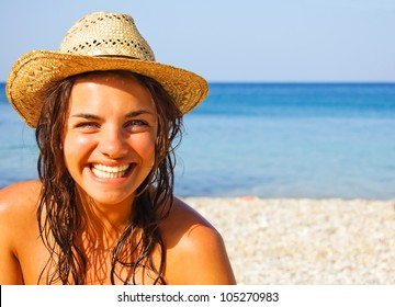 Pretty girl on holiday at the beach