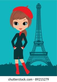 Pretty girl in the Paris. Raster illustration
