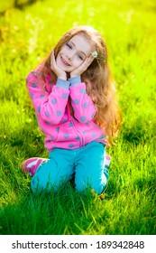 Pretty girl in park.