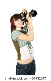 pretty girl with photocamera  isolated over white