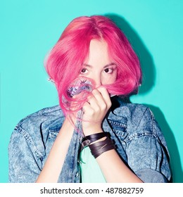 Pretty Girl with pink hair. Vanilla color. Fashion Mix.