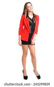 Pretty girl in red jacket posing in studio isolated on white