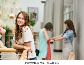pretty girl in shopping center