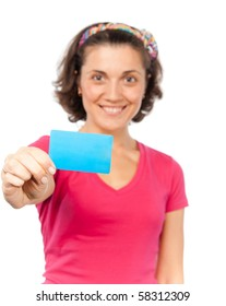 Pretty girl shows a credit card