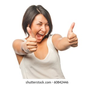 Pretty girl shows a thumbs up sign