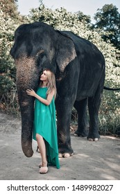 Pretty girl in sunglasses and green dress print kindly strokes elephant's trunk; exotic animals, glamour.