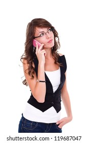 Pretty girl talking on mobile phone, white background