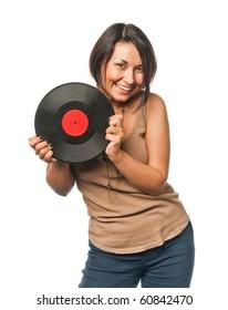 Pretty girl with vinyl disc