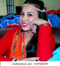 pretty girl wearing cultural dress of Tharu tribe Nepal, Tharu model