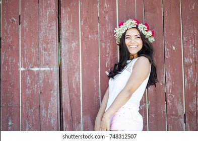 Pretty girl wearing flower crown